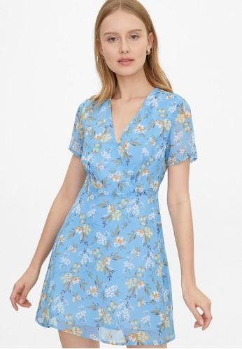 Pomelo blue Semi Sheer Surplice Floral Dress - Blue F6475AAF9CC8A4GS_1