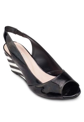 魚口繞踝楔型跟鞋, 女鞋,zalora 心得 ptt 鞋