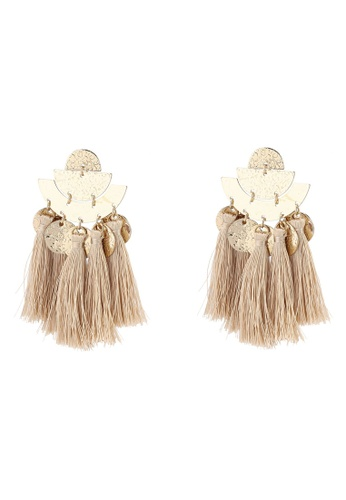 Red's Revenge gold Boho Coins Tassel Statement Earrings 5F07AAC8161376GS_1
