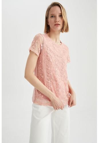 DeFacto pink Regular Fit Short Sleeve Viscose T-Shirt 67DA4AAD5827CDGS_1