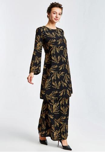 Era Maya black and yellow Golden Shower Floral Baju Kurung Cotton 841BBAAF09A383GS_1