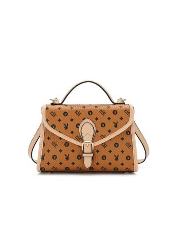 PLAYBOY BUNNY brown Monogram Top Hand Bag EDE49AC9F5282BGS_1