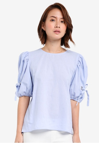 ZALORA blue Top with Self Ties and Eyelets D243BAA9E62D48GS_1
