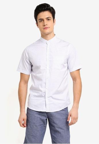 Fidelio white Mandarin Collar Stripes Short Sleeves Shirt 8E8B4AA5D14F72GS_1