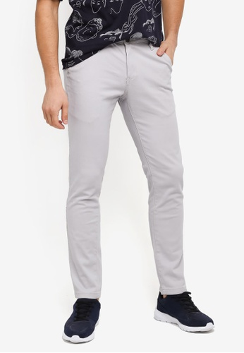 UniqTee grey Slim Chinos With Striped Waistband UN097AA0SYTUMY_1