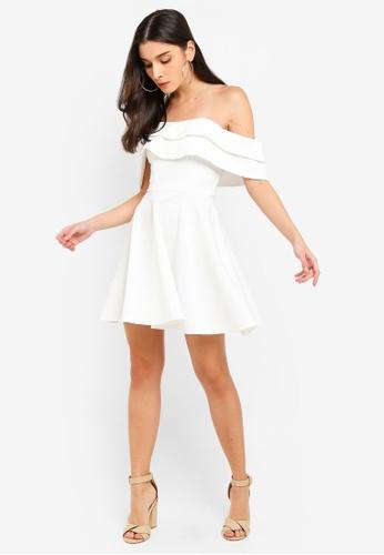 dbed422e8f37 Buy Miss Selfridge Ivory Bardot Scuba Mini Dress Online on ZALORA ...