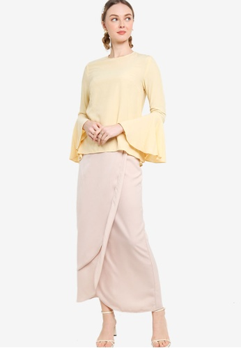 Lubna yellow and beige Flare Sleeve Kurung With Tulip Skirt 7BB5EAAC8B1475GS_1