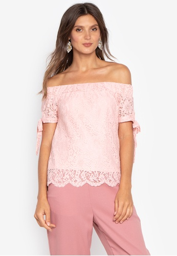 9d69075edd02f Shop Kamiseta Short Sleeves Off Shoulder Lace Blouse With Inner Online on  ZALORA Philippines