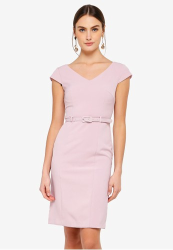FORCAST pink Rowan Belted Dress 13580AAAE92D25GS_1