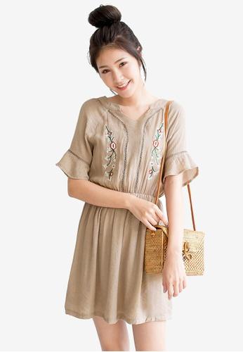 Tokichoi brown Embroidery Detail Dress 65B33AA11E5CF0GS_1