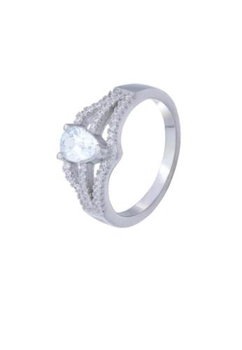 ADORA Silver Pear Cut Ring AD365AC14YHLHK_1