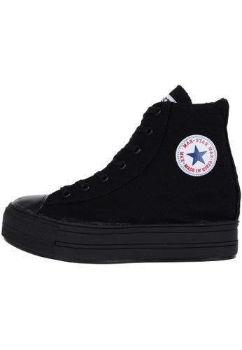 Maxstar 黑色 新款韩国鞋C2時尚帆布布混合女黑色 US Women Size MA345SH18HEBTW_1