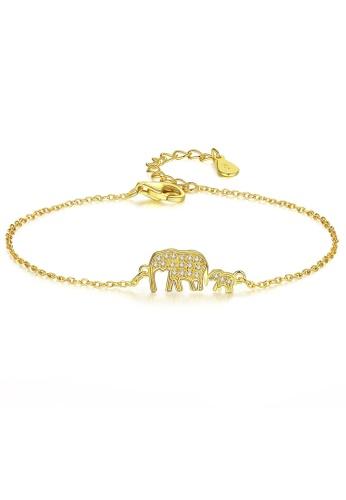 SUNRAIS gold High quality Silver S925 golden elephant bracelet 52864AC347F32CGS_1