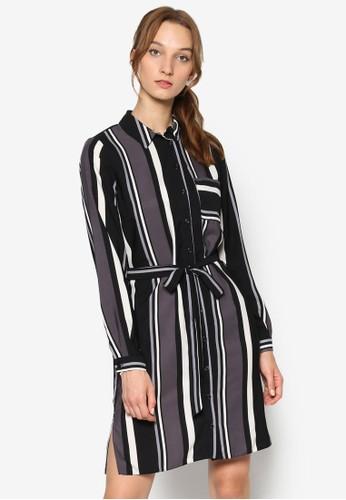 單色條紋腰帶襯衫連身裙, 服飾,zalora退貨 洋裝