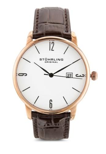 esprit服飾Stuhrling Original 997L.04 Ascot 日期皮革手錶, 錶類, 飾品配件