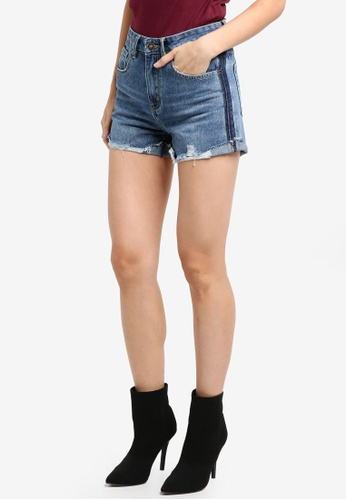 ZALORA blue Rolled Up Shorts With Side Contrast Detail 8AF7DAAFD0C743GS_1