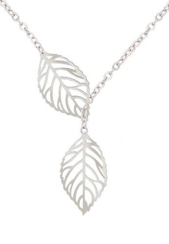 YOUNIQ silver YOUNIQ Basic Korean Twin Leaves Silver Necklace 80A46AC32EA938GS_1