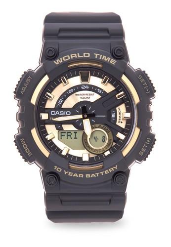 CASIO black Casio Jam Tangan Pria - Black Gold - Resin - AEQ-110BW-9AVDF 02735AC538C9A7GS_1