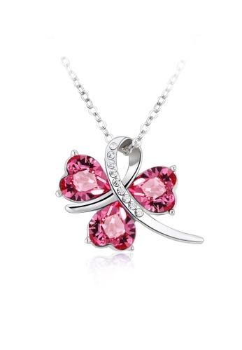 OUXI pink OUXI Lucky Clover Necklace (Rose) OU821AC59KAUMY_1