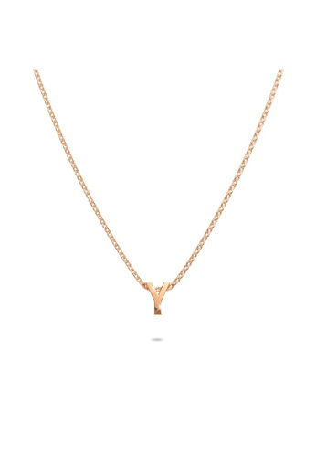 Bullion Gold gold BULLION GOLD Initials Brick Alphabet Letter Necklace Rose Gold Layered Steel Jewellery - Y 68EB5ACDE378AAGS_1