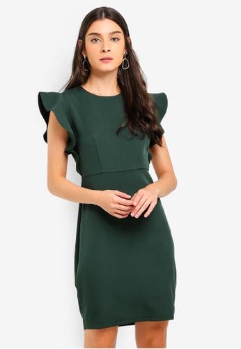 b1d10e791de9 Buy ZALORA Ruffles Sleeves Semi Formal Dress Online on ZALORA Singapore