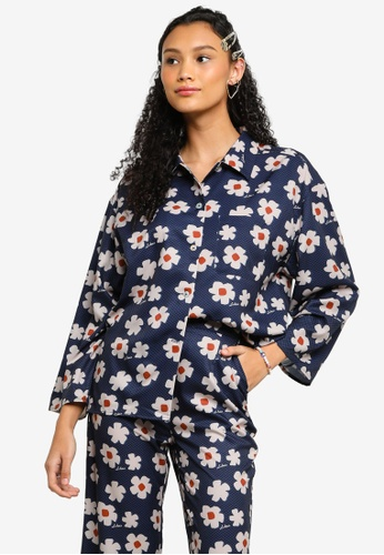 Lubna blue Printed Wide Sleeve Shirt 94D66AA3184BC1GS_1