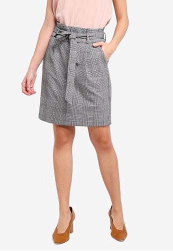 Vero Moda grey Eva Paperbag Short Check Skirt 4CB8DAA45D6FBAGS_1