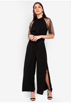 d096082f22c ZALORA black Lace Sleeves Jumpsuit 8DB5FAA98122C9GS 1