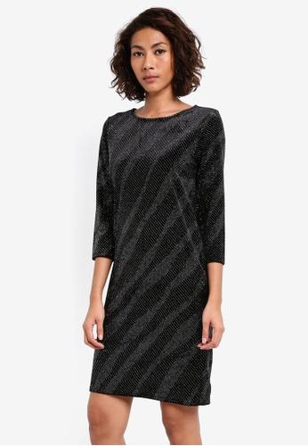 Dorothy Perkins 黑色 Velvet Glitter Shift DO816AA0SKROMY_1