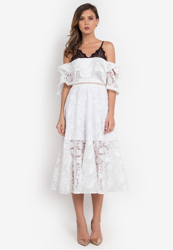 NOBASIC white Contrast Application Ruffled Dress 9044AAA80509BAGS_1