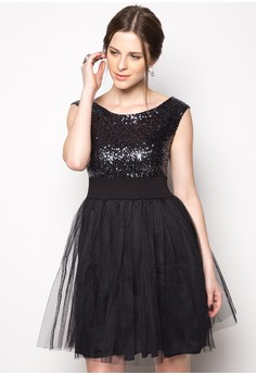 Liza Sequin Off Shoulder Midi Dress