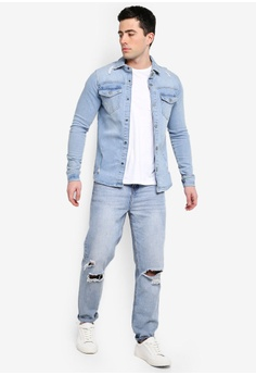 67735f83e9 Only   Sons Lucas Distressed Denim Overshirt RM 249.00. Sizes S M L XL