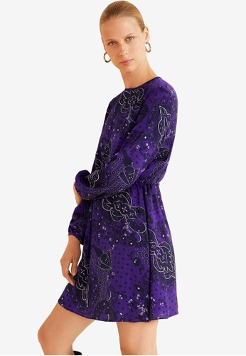 Mango purple Paisley Print Dress 6CFF8AA04B6CC8GS_1