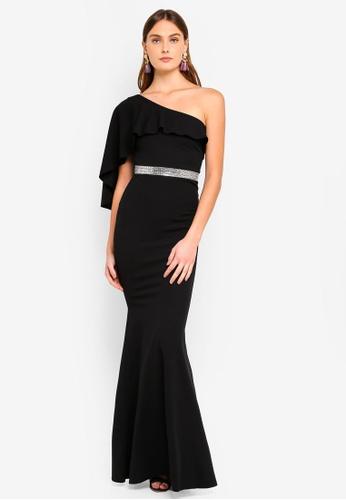 Goddiva black Off The Shoulder Flair Maxi Dress A75D4AA5980775GS_1