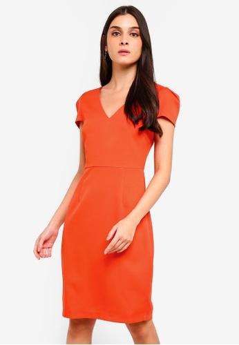 ZALORA orange Box Pleated Sleeves Formal Dress ECCA6AAD065268GS_1