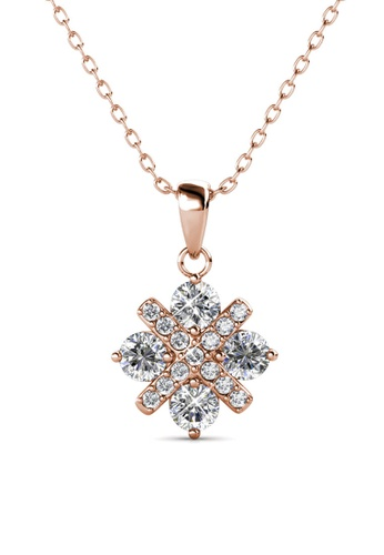 Her Jewellery gold Cross Petal Pendant (Rose Gold) -  Embellished with Crystals from Swarovski® 4733AAC55653B3GS_1