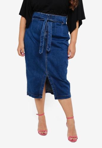 5f563705f Shop LOST INK PLUS Plus Size Longline Denim Skirt Online on ZALORA ...