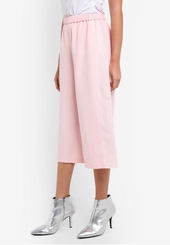 Something Borrowed pink Paneled Elasticated Culottes 38926AA97AC68FGS_1