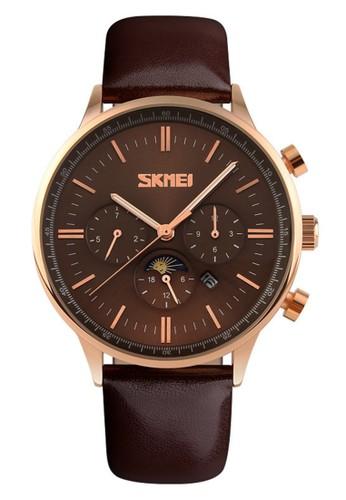 Digitec brown Skmei - Jam Tangan Pria - Rosegold Stainless Steel - Brown Leather Strap - 9117-A DI108AC70TRTID_1