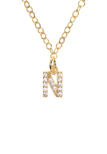 PSYNDROME gold Personalised Initial Letter Alphabet Cubic Zirconia Necklace - N 413E3AC803AE51GS_1