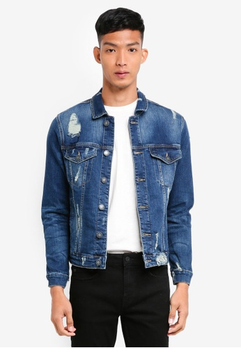 Only & Sons blue Coin Trucker Jacket 265E1AAFCA33CFGS_1