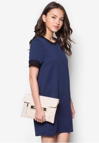 zalora 男鞋 評價暗紋直筒連身裙, 服飾, 洋裝