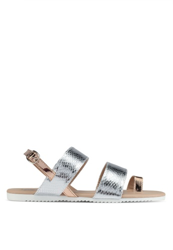 LOST INK silver Cira Colourblock Sandals 57232SHE6F9770GS_1
