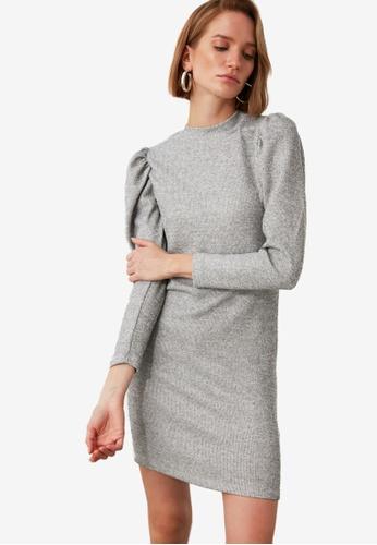 Trendyol grey Knit Puff Sleeve Dress 1937BAA44B08C8GS_1