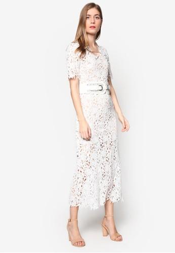 Eva 蕾絲覆蓋腰帶連身長裙,esprit taiwan 服飾, 洋裝