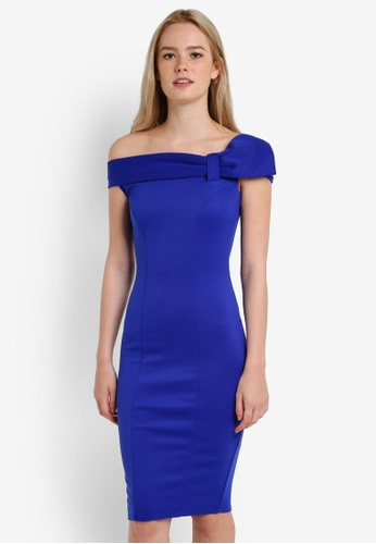 Dorothy Perkins blue Lucy Bow Bardot Dress DO816AA0RA6LMY_1
