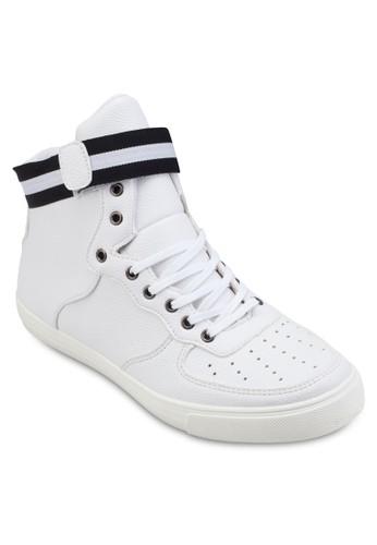 條紋帶沖孔高筒運zalora 衣服評價動鞋, 鞋, 運動鞋