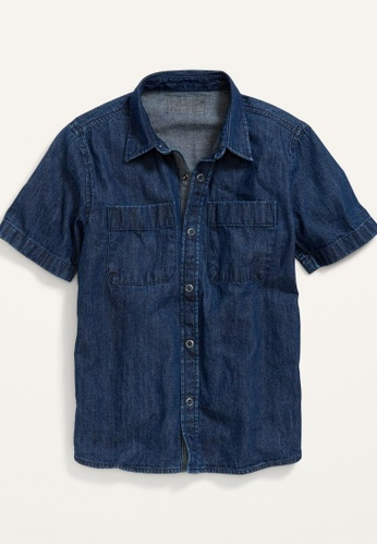 Old Navy blue Boys Short-Sleeve Button-Front Jean Workwear Shirt 4659FKA0FA1EF4GS_1