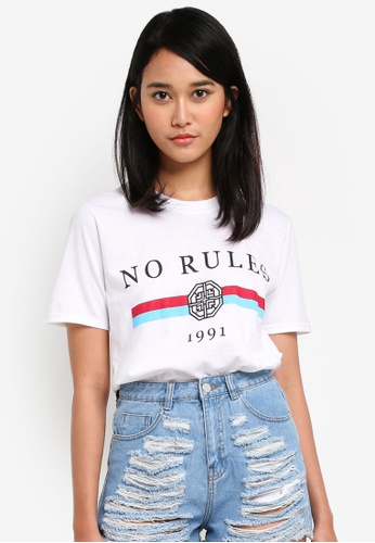 MISSGUIDED white No Rules Tshirt 3CED2AA24F6C7CGS_1