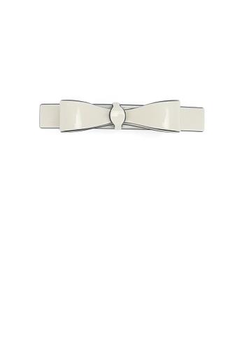 Glamorousky white Simple and Fashion Beige White Ribbon Hair Clip 88339ACA1AC418GS_1